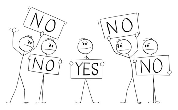 Person Holding No Sign, Disagree with Crowd with Yes Signs,Individuality Concept , Vector Cartoon Stick Figure Illustration