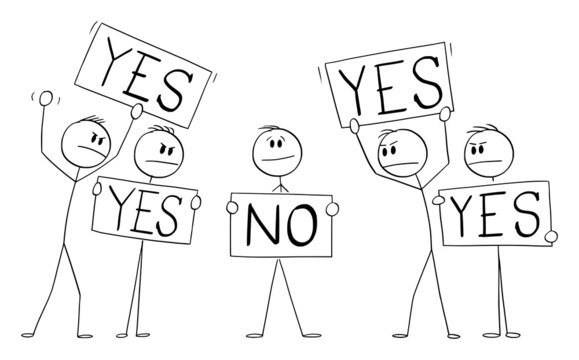 Person holding Yes Sign, Disagree with Crowd with No Signs,Individuality Concept , Vector Cartoon Stick Figure Illustration