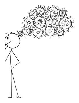 Person Thinking, Concept of Idea, Creativity and Inspiration, Vector Cartoon Stick Figure Illustration