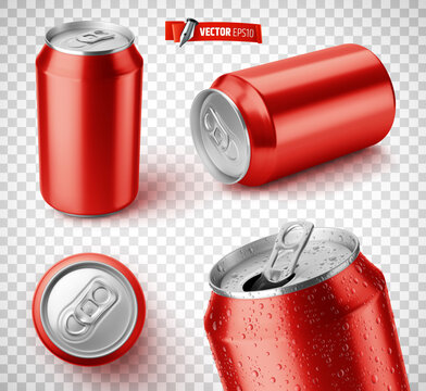 Vector realistic illustration of red soda cans on a transparent background.