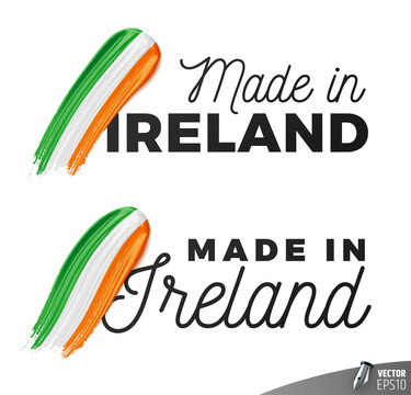 """Vector logos on a white background : """"Made in Ireland"""""""