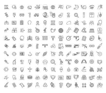 Line medicine concepts, Big vector line Icons set