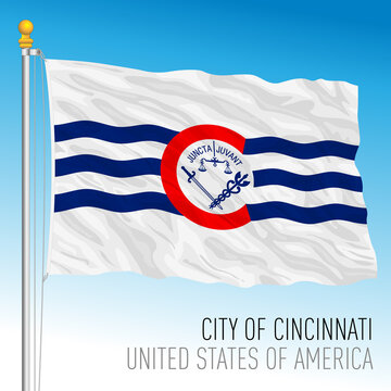City of Cincinnati flag, Ohio, United States, vector illustration